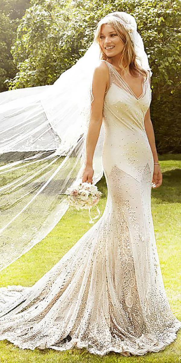 kate moss sheath v neckline with train celebrity wedding dresses john galliano