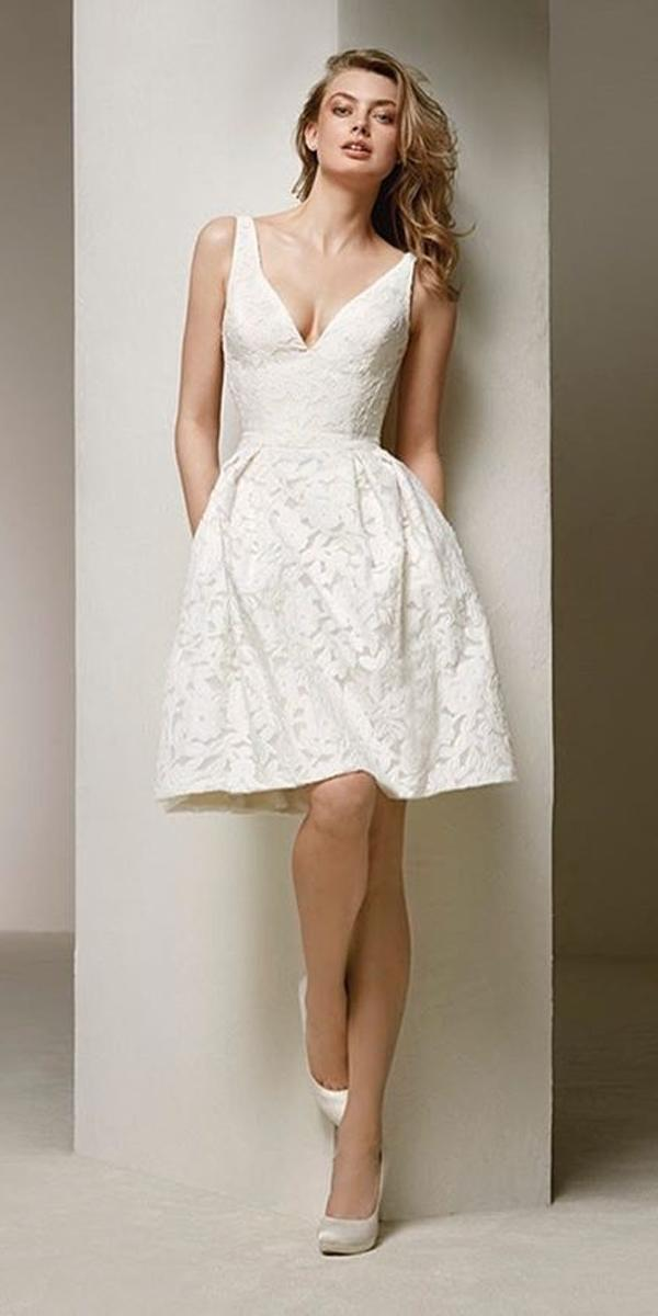 knee length wedding dresses lace v neckline with straps sleeveless pronovias