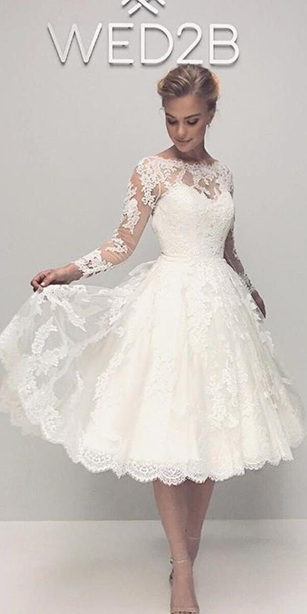 knee length wedding dresses lace vintage illusion sweetheart neckline long sleeves anna sorrano