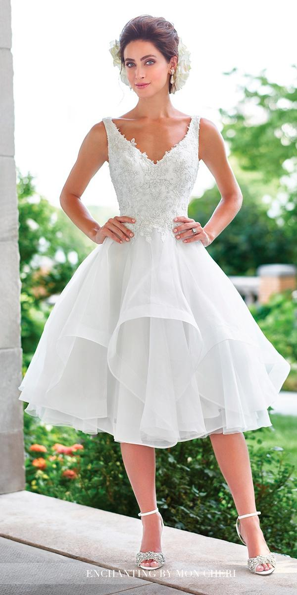 knee length wedding dresses v neckline ruffled skirt with straps beaded bodice mon cheri bridals
