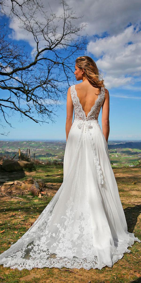 lace a line with v shape open back wedding dresses marie laporte style coralie
