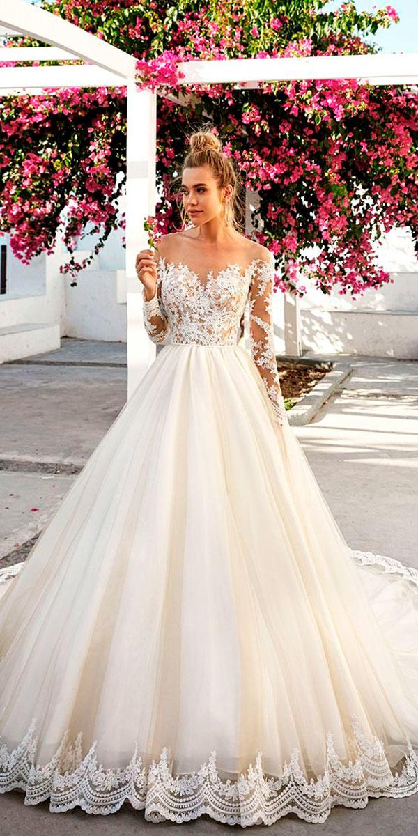 lace ball gown sweetheart neckline wedding dresses with sleeves eva lendel