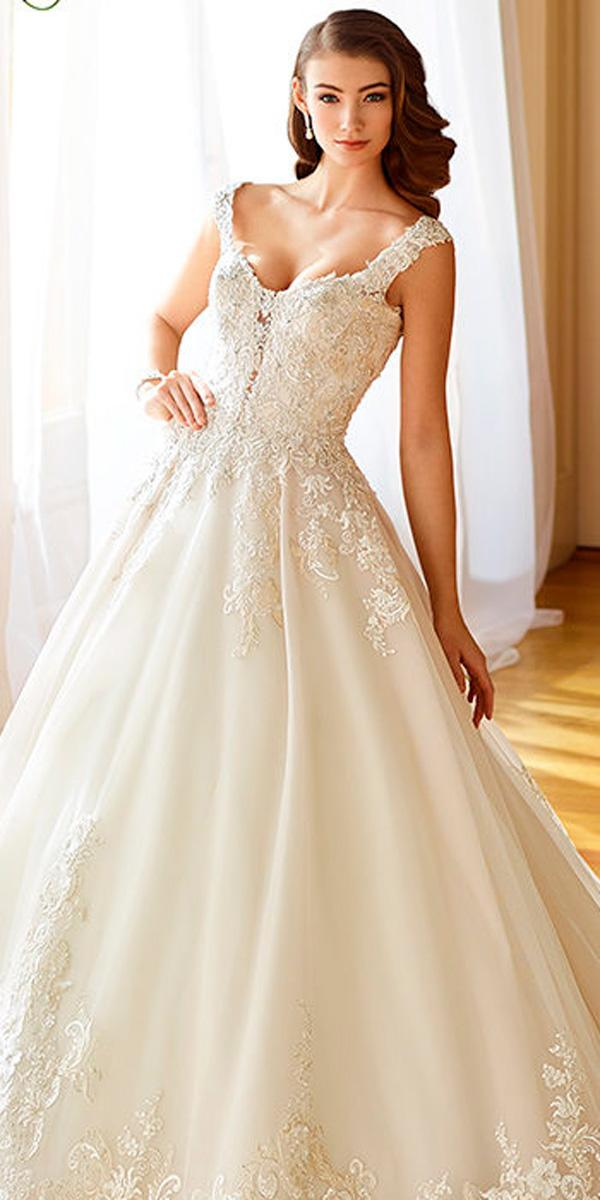 lace ball gown sweetheart with straps ivory wedding dresses david tutera