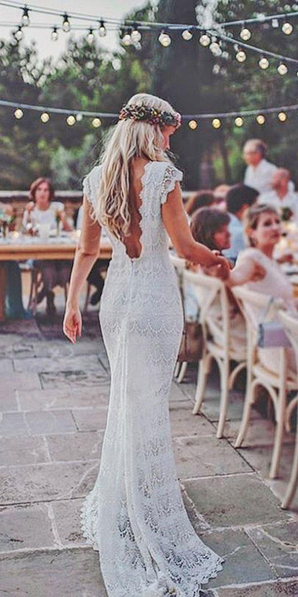 lace boho open back wedding dresses with cap sleeve tali photography