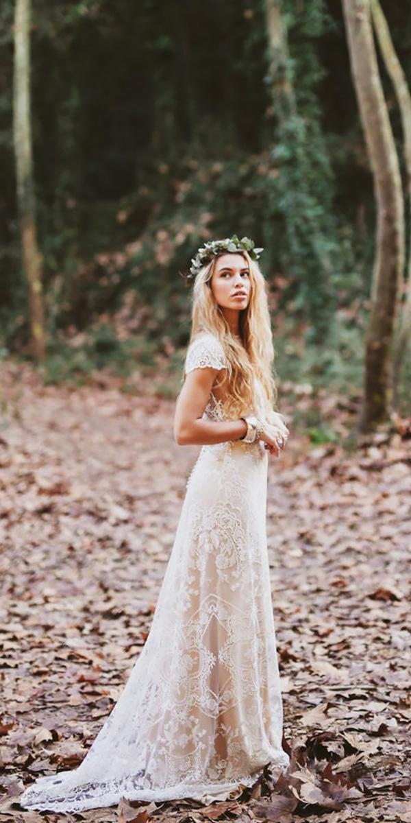 lace cap sleeve bohemian wedding dresses serafin castillo
