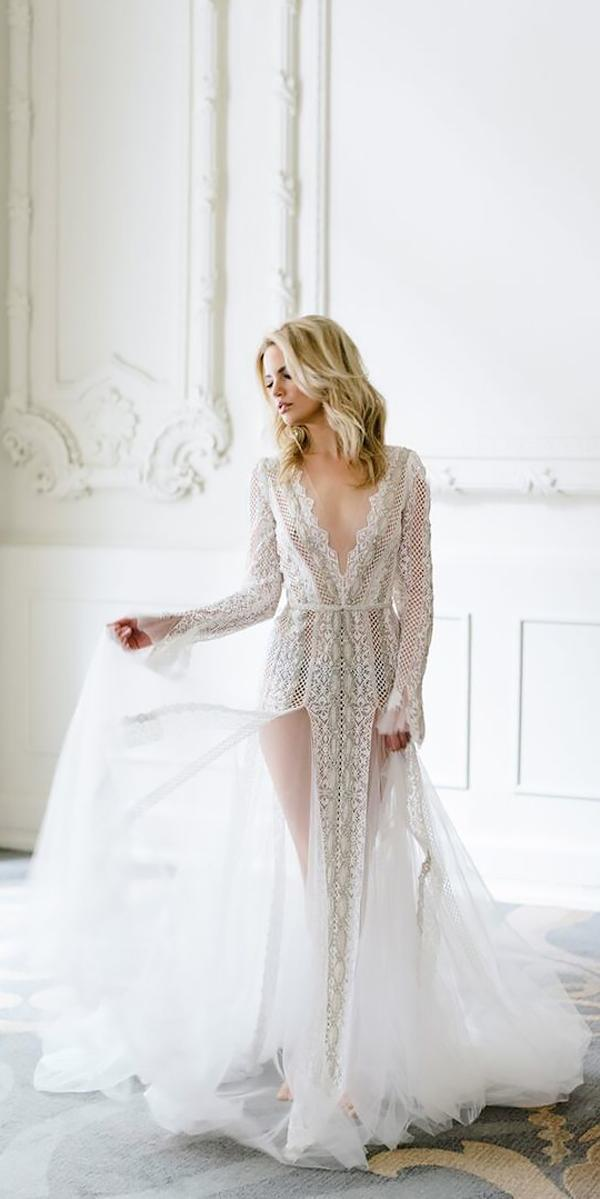 lace deep v neckline with sleeves bohemian wedding dresses mango studios