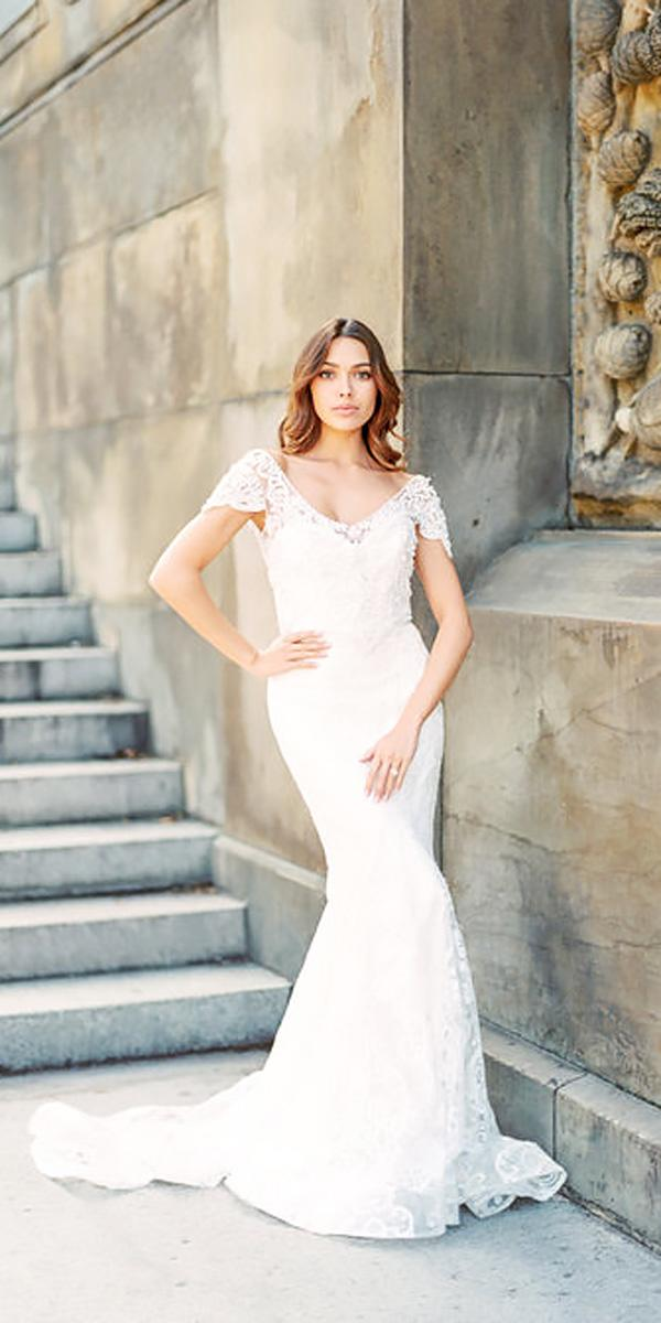 lace hand embellished draped sleeves v neckline wedding dresses with train anna campbell style anna