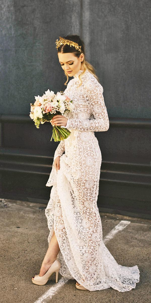 lace high necline rustic wedding dresses with long sleeves judy copley couture