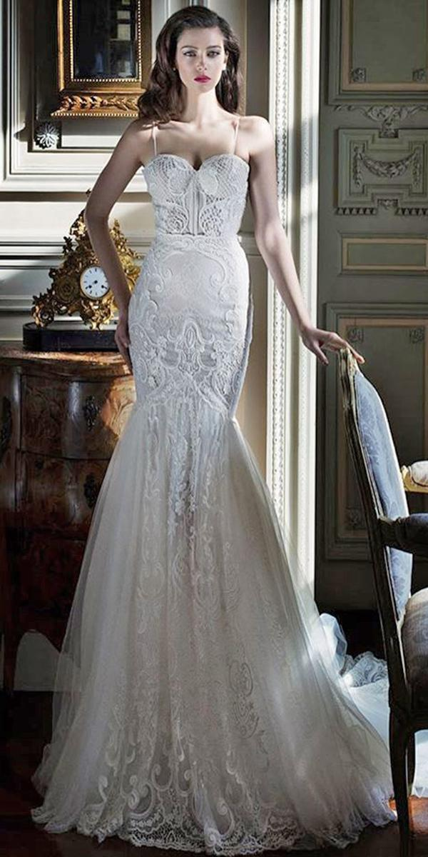 lace mermaide with sweetheart and straps elihav sasson wedding dresses