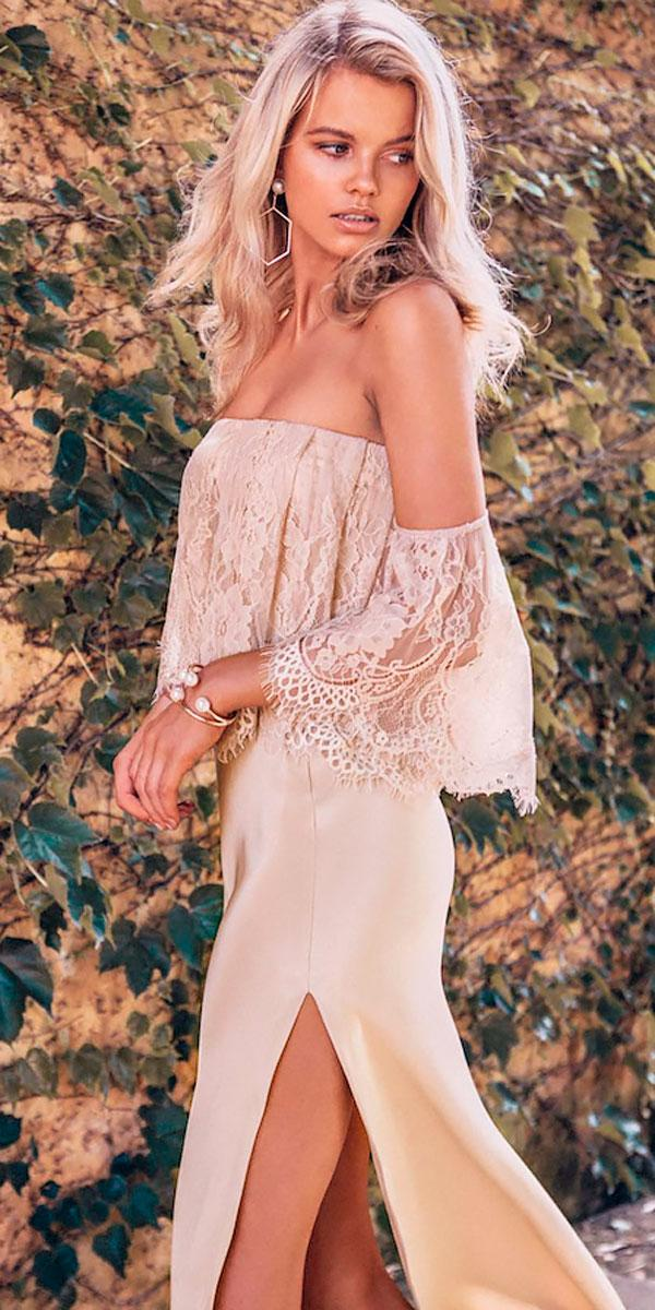 lace off the shoulder beach wedding guest dresses with high slit grace loves lace