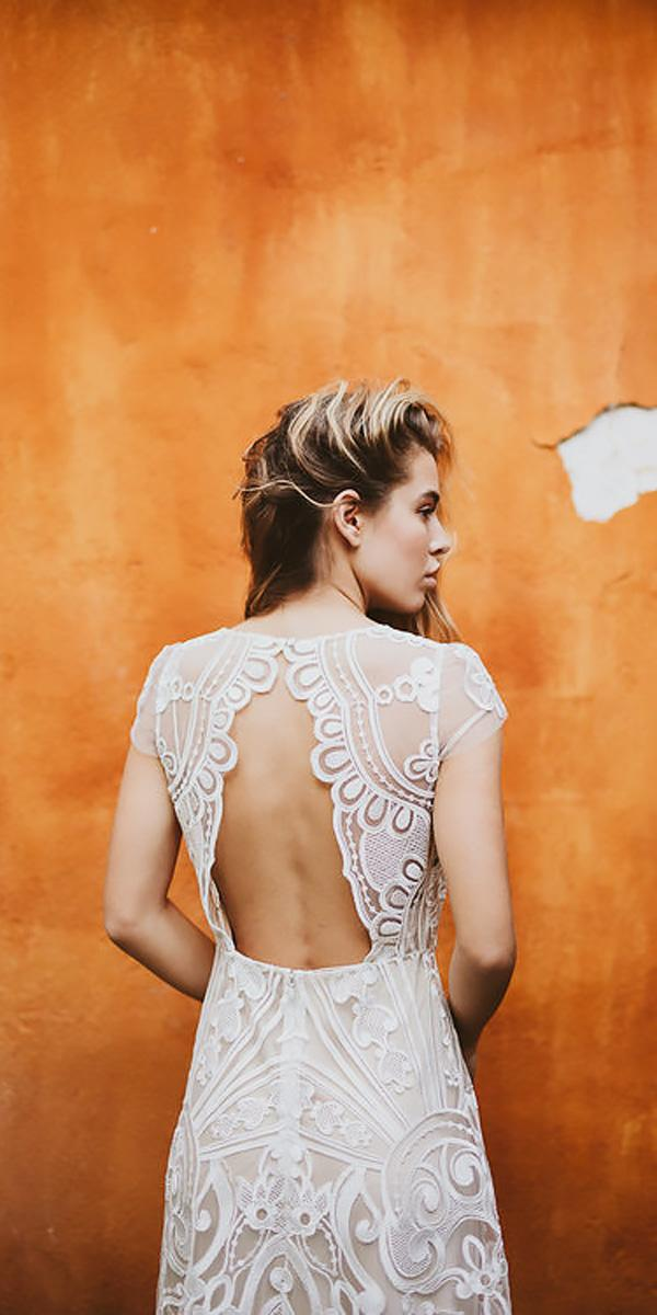 lace open back a line with cap sleeve bohemian wedding dresses serafin castillo