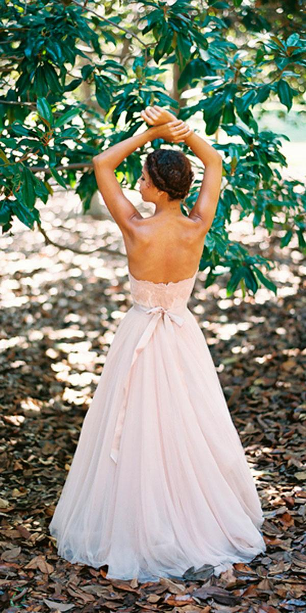 lace open back blush elegant wedding dresses with watters