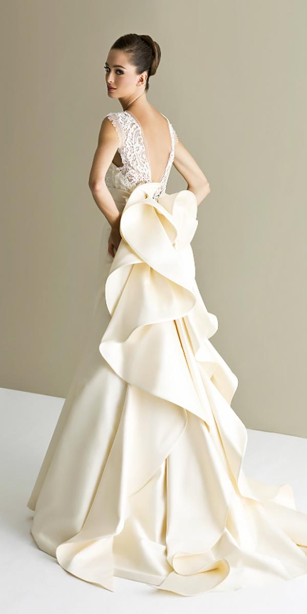 lace open back with cap sleeves elegant wedding dresses with bow antonio riva