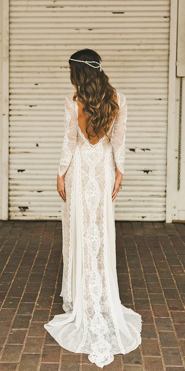 lace open back with long sleeves bohemian wedding dresses grace loves lace