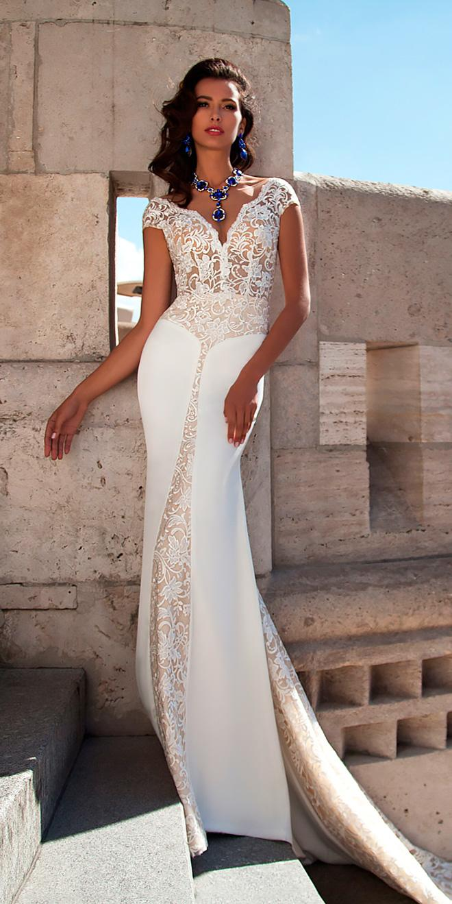 lace satin mermaid wedding dress with smooth skrirt and cap sleeves mila nova