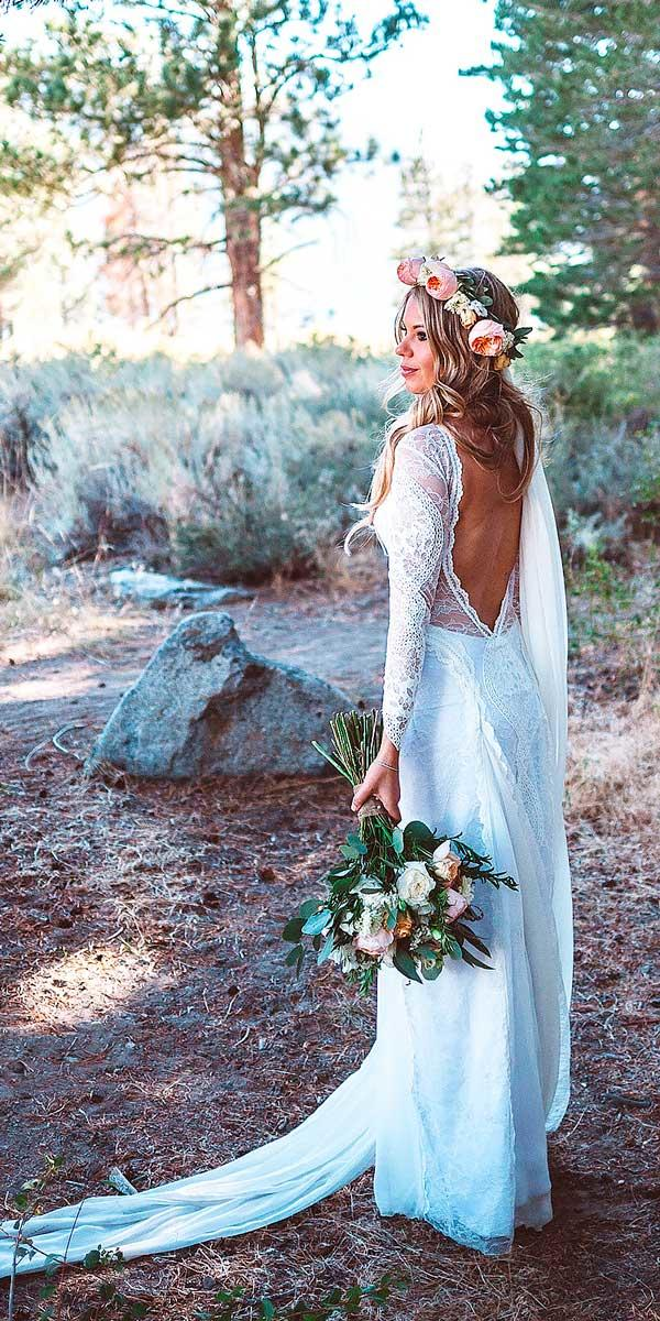 lace sheath low open back rustic wedding dresses with long sleeves grace loves lace