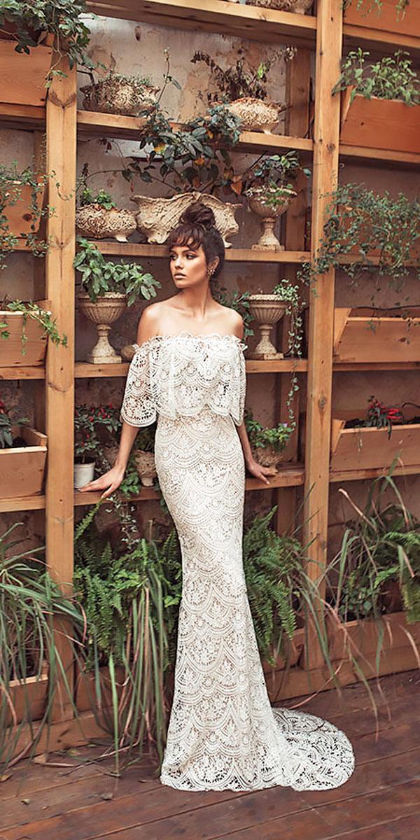 lace sheath off the shoulder elegant wedding dresses julie vino