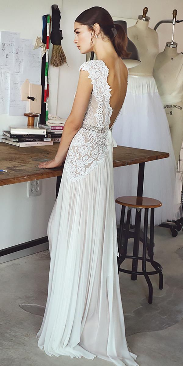lace sheath vintage bare open back wedding dresses lihi hod