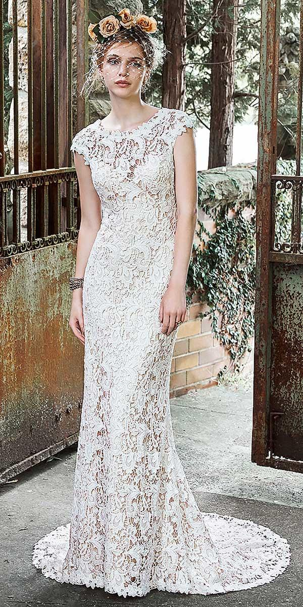 lace sheath with cap sleeves vintage rustic wedding dresses magie sottero