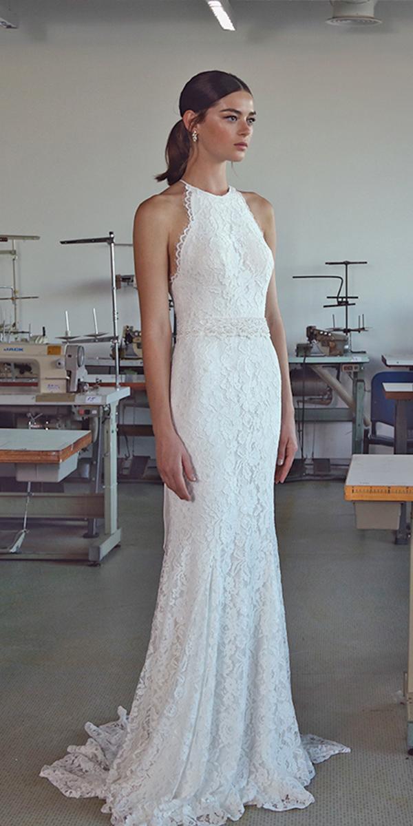 lace sheath with halter neckline lihi hod wedding dresses
