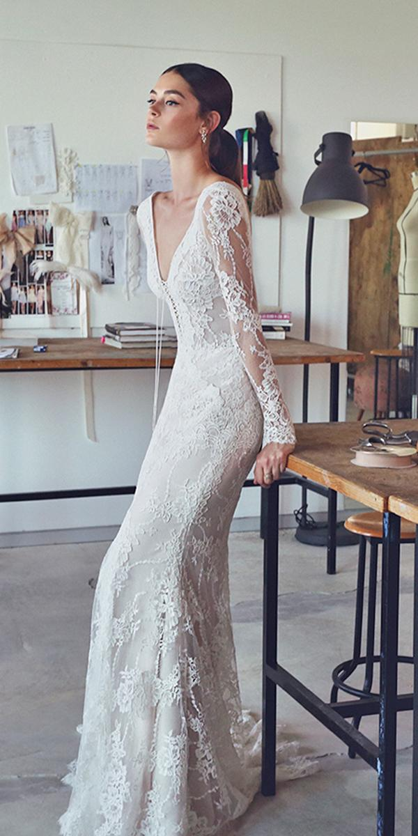 lace sheath with sexy v neckline and long sleeves lihi hod wedding dresses