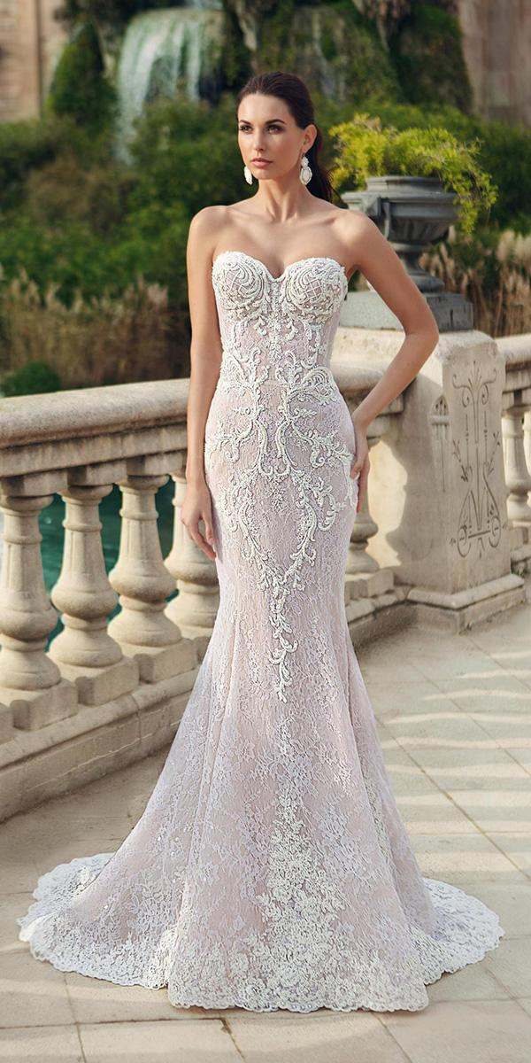lace sheath with sweetheart and train ricca sposa wedding dresses