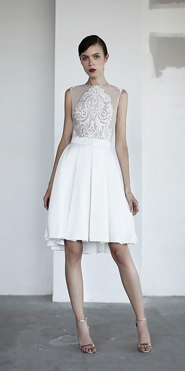 lace short illusion neckline knee lenght wedding dresses oui the label