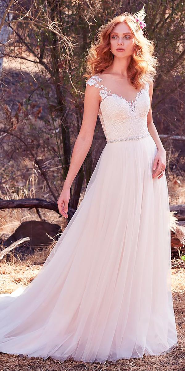 lace short sleeve sheer wedding dress neckline with train maggie sottero style sonja