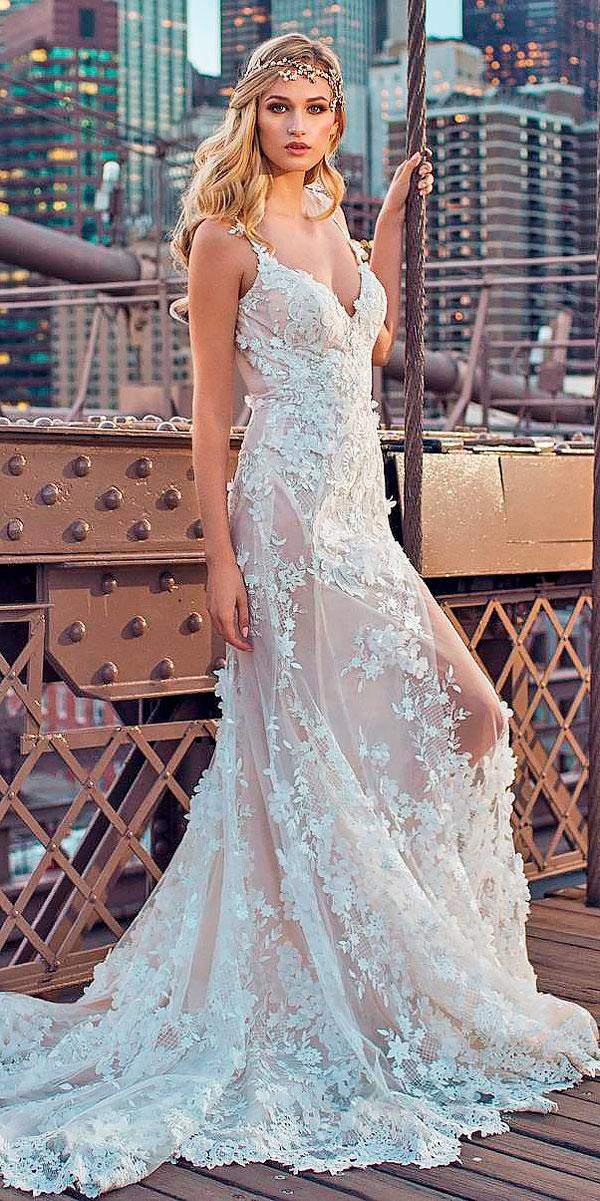 lace spaghetti straps sweetheart wedding dresses galia lahav