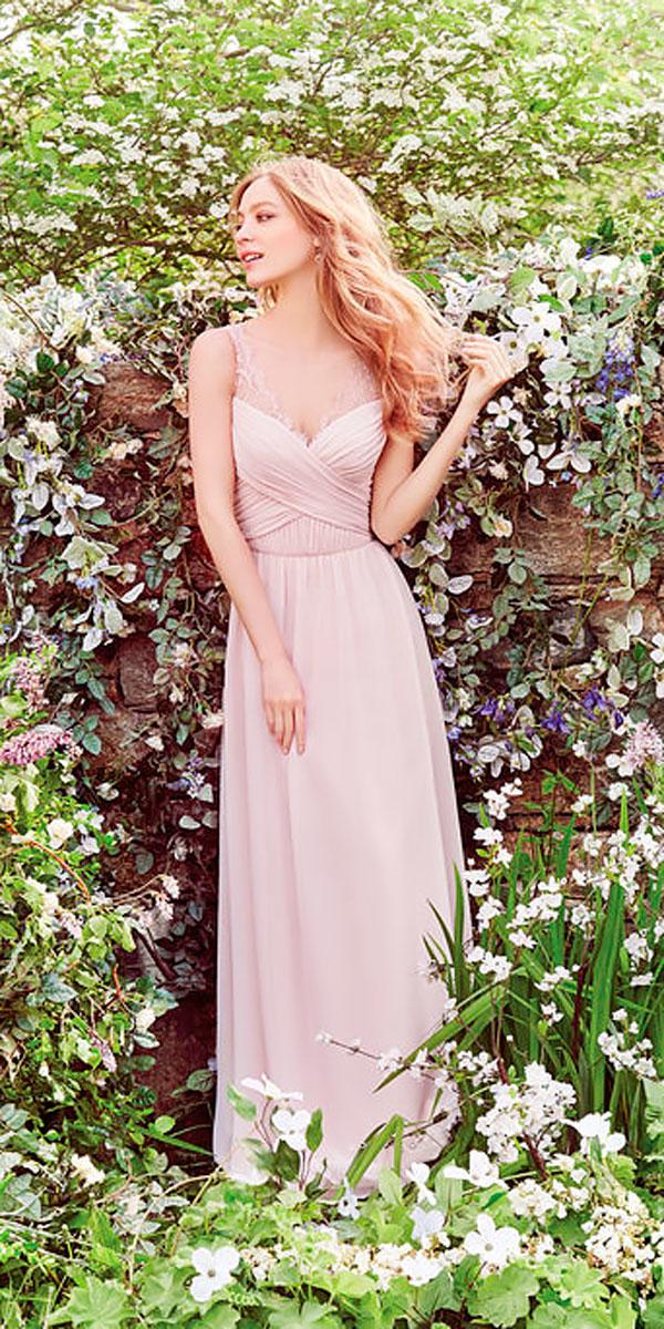 lace sweetheart neckline pink long bridesmaid dresses hayley paige