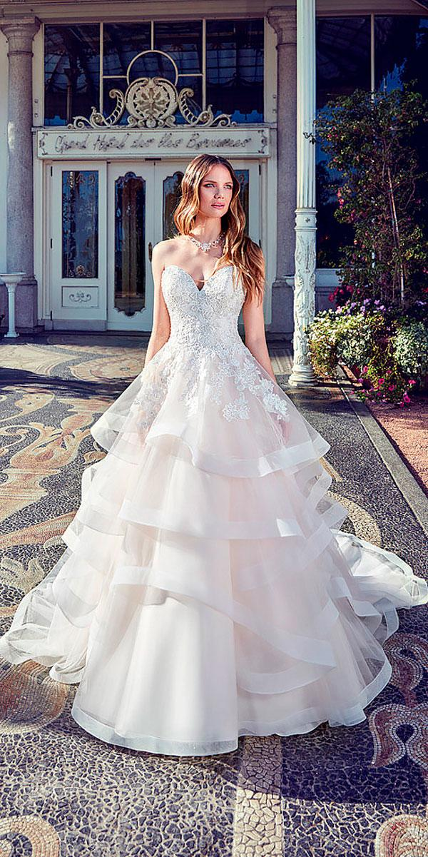 lace sweetheart neckline wedding dresses with ruffled skirt eddy k