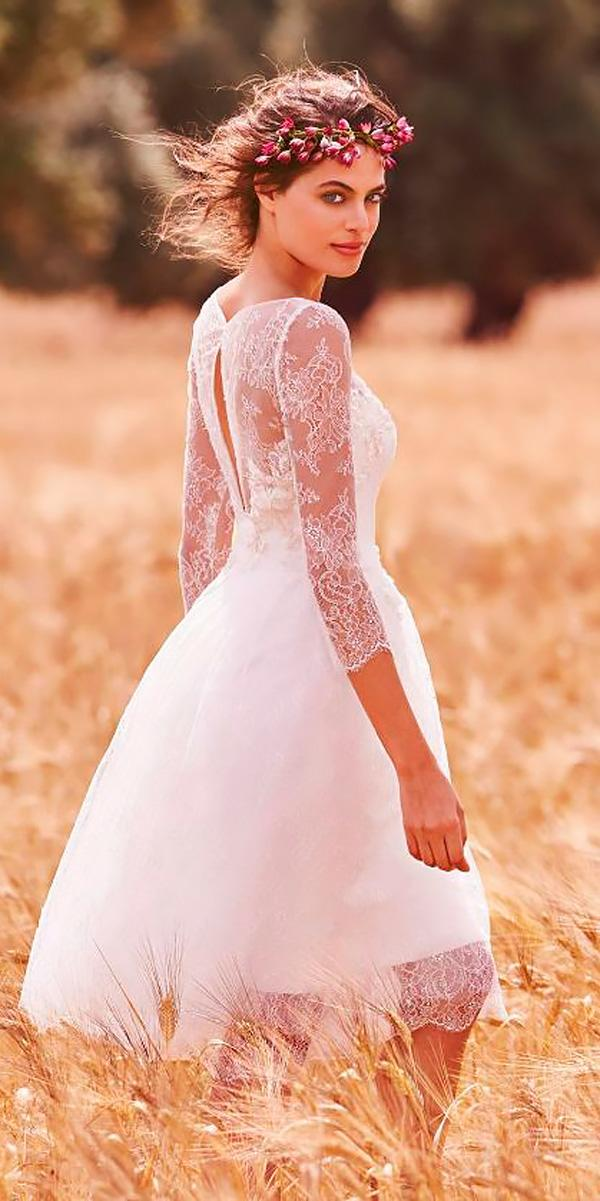 lace sweetheart with long sleeves knee length wedding dresses atelier eme