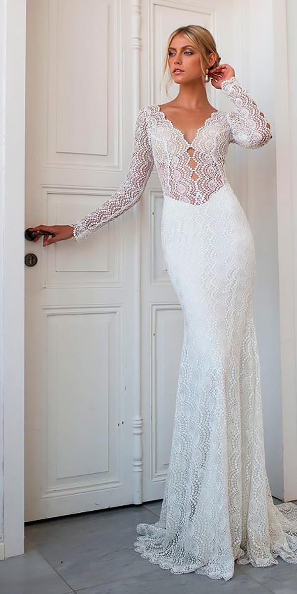 vintage lace trumpet long sleveed deep v neck wedding dress neckline ricki dalal