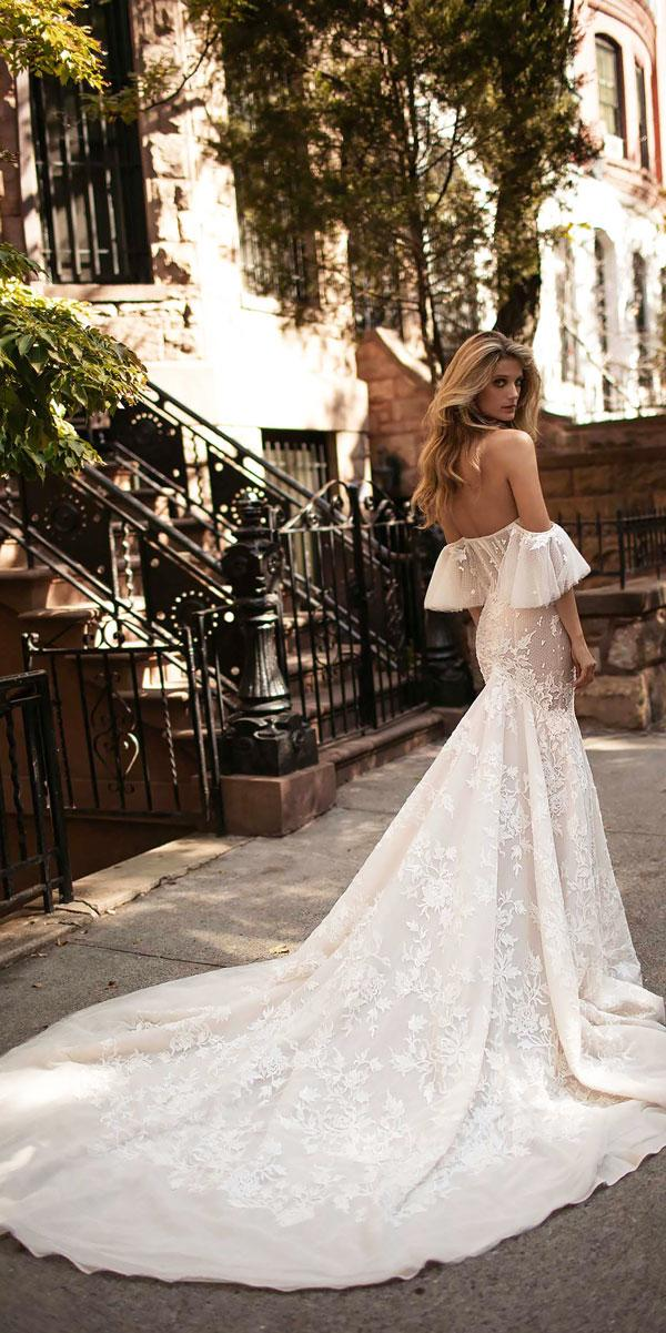 lace trumpet off the shoulder wedding dress neckline with train berta