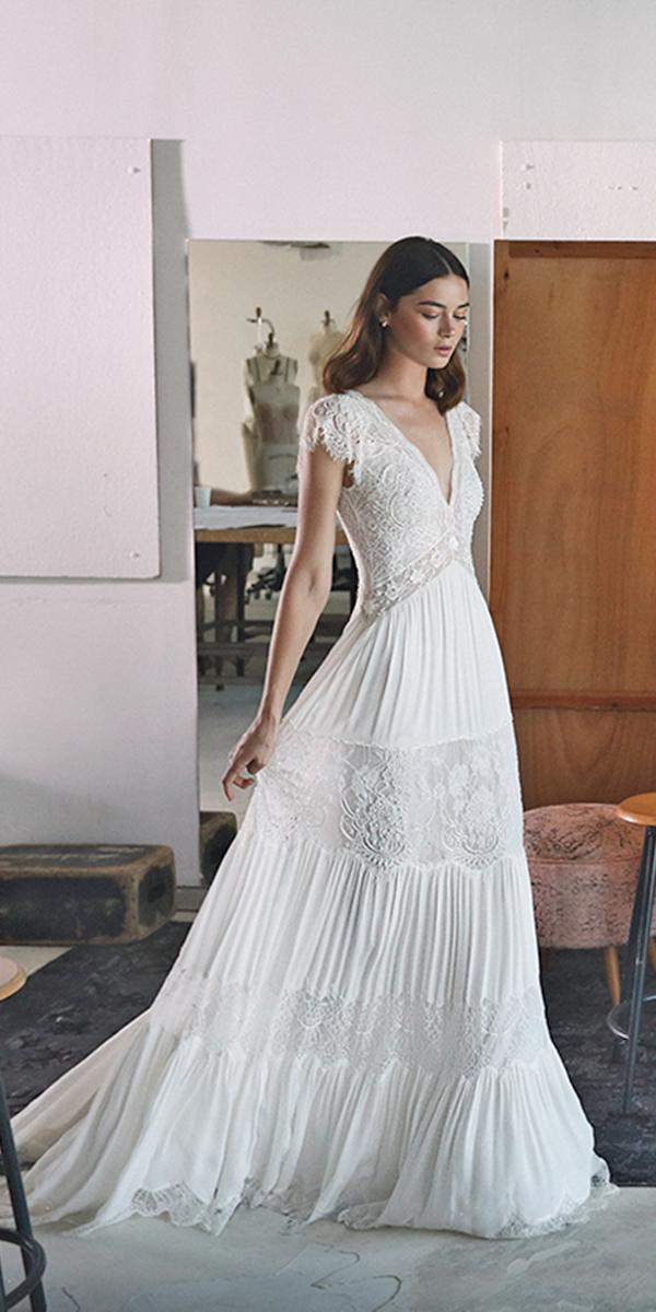 lace v neck with short sleeves and train lihi hod wedding dresses