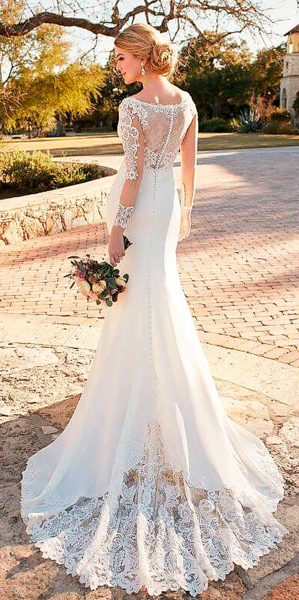 lace with illusion back and long sleeves ivory wedding dresses essense of australia