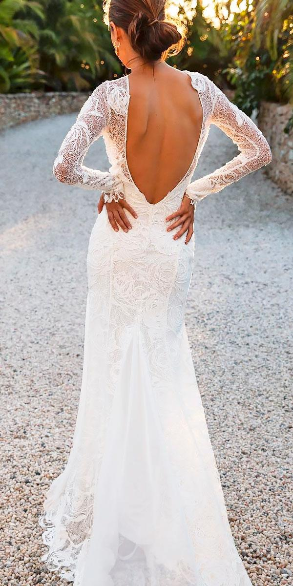 boho lace long sleeve low back wedding dresses grace loves lace