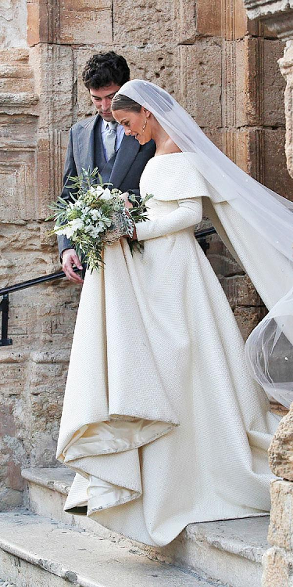 lady charlotte anne wellesley a line off the shoulder long sleeves royal celebrity wedding dresses emilia wickstead
