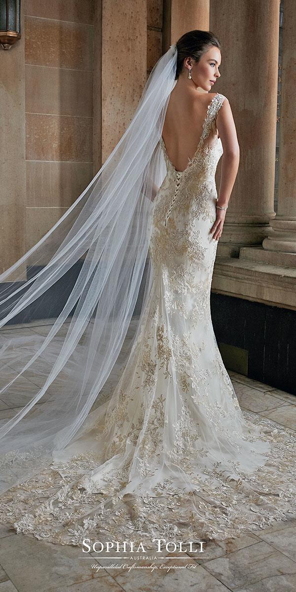low back color mermaid with train sophia tolli wedding dresses
