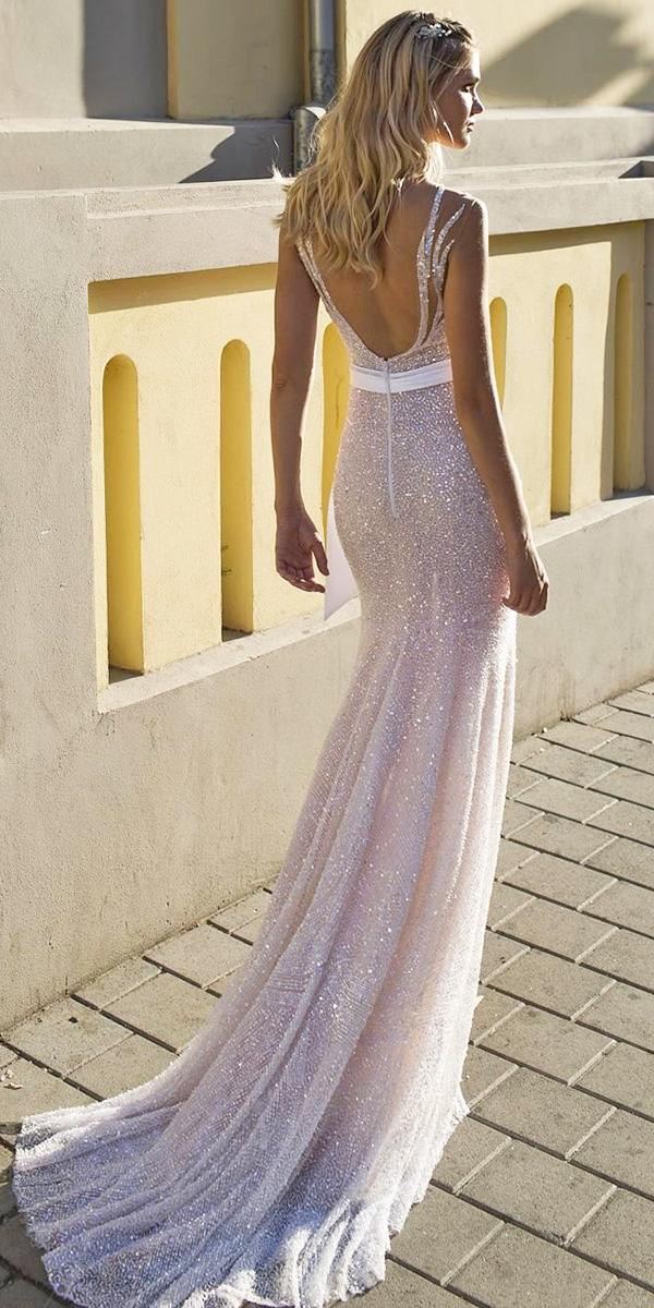 low open back beach wedding dresses sequins dimitrius dalia