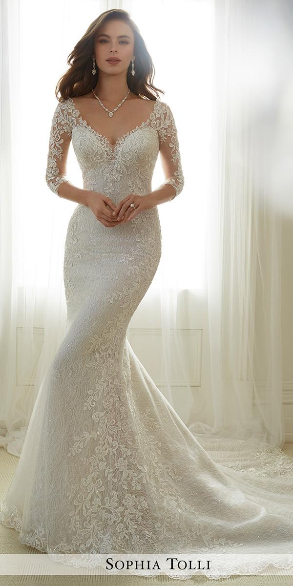 lace trumpet with sleeves wedding dresses sophia tolli