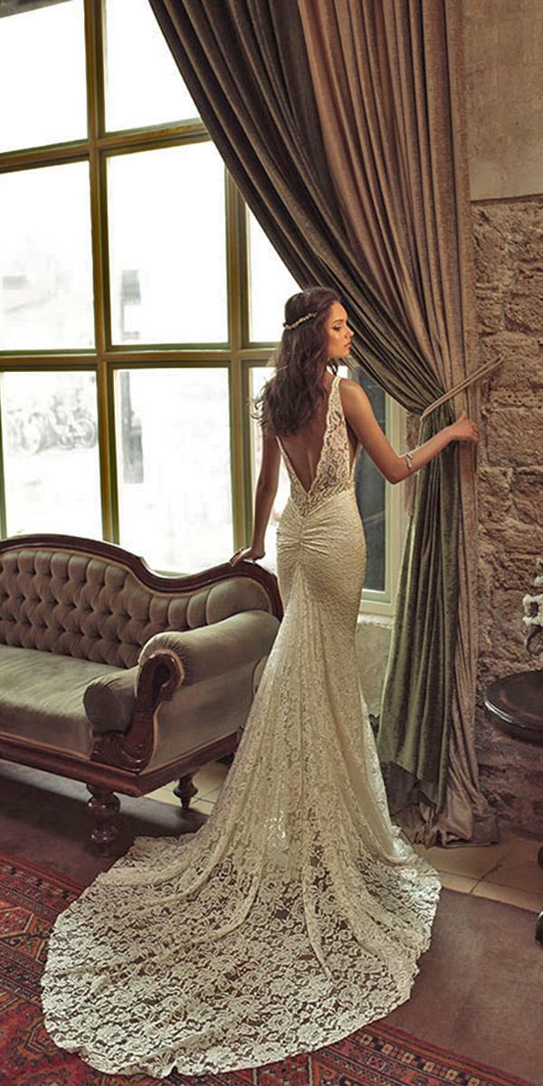 mermaid backless with train and v shape back julie vino wedding dresses