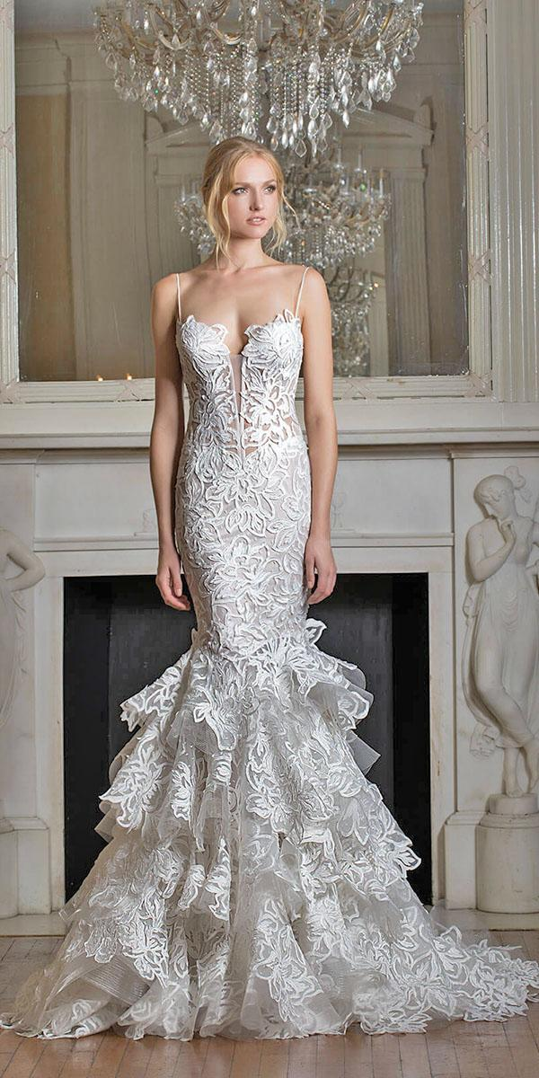 mermaid dropped waistline with v neckline and ruffles pnina tornai wedding dresses