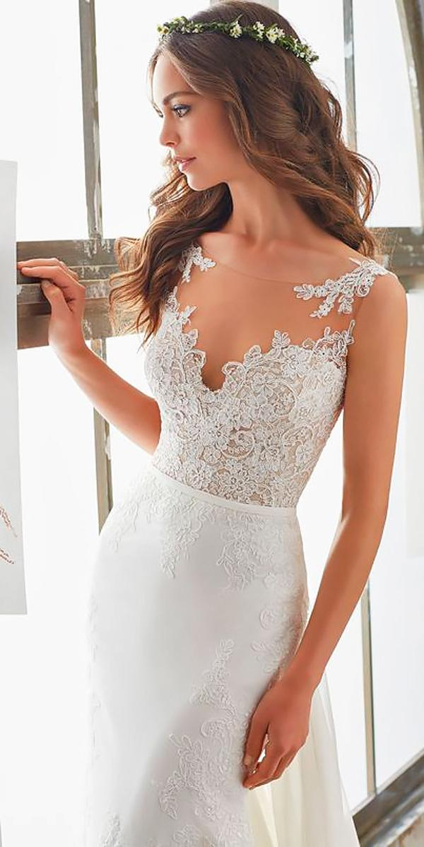 lace mermaid illusion neckline wedding dress morilee madeline style marisol