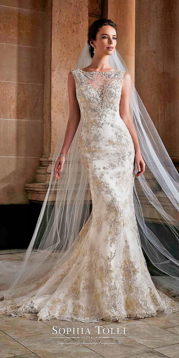mermaid lace illusion neckline ivory wedding dresses sophia tolli