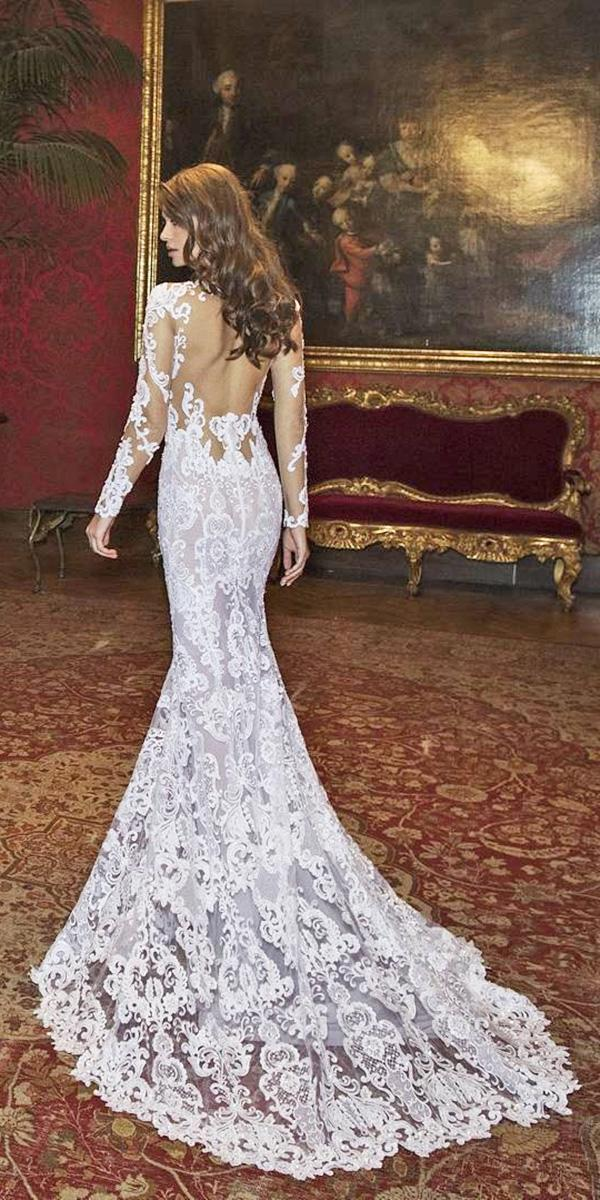lace satin mermaid wedding dresses with long sleeves and train low open back dimitrius dalia