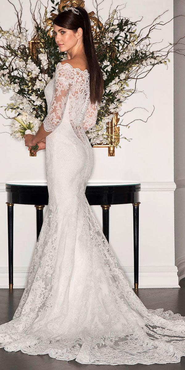 mermaid lace with sleeves and train boho wedding dresses romona keveza
