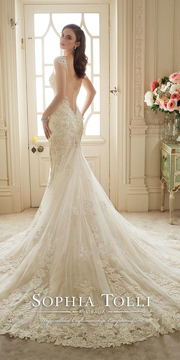 low back lace wedding dresses with cap sleevs and train sophia tolli