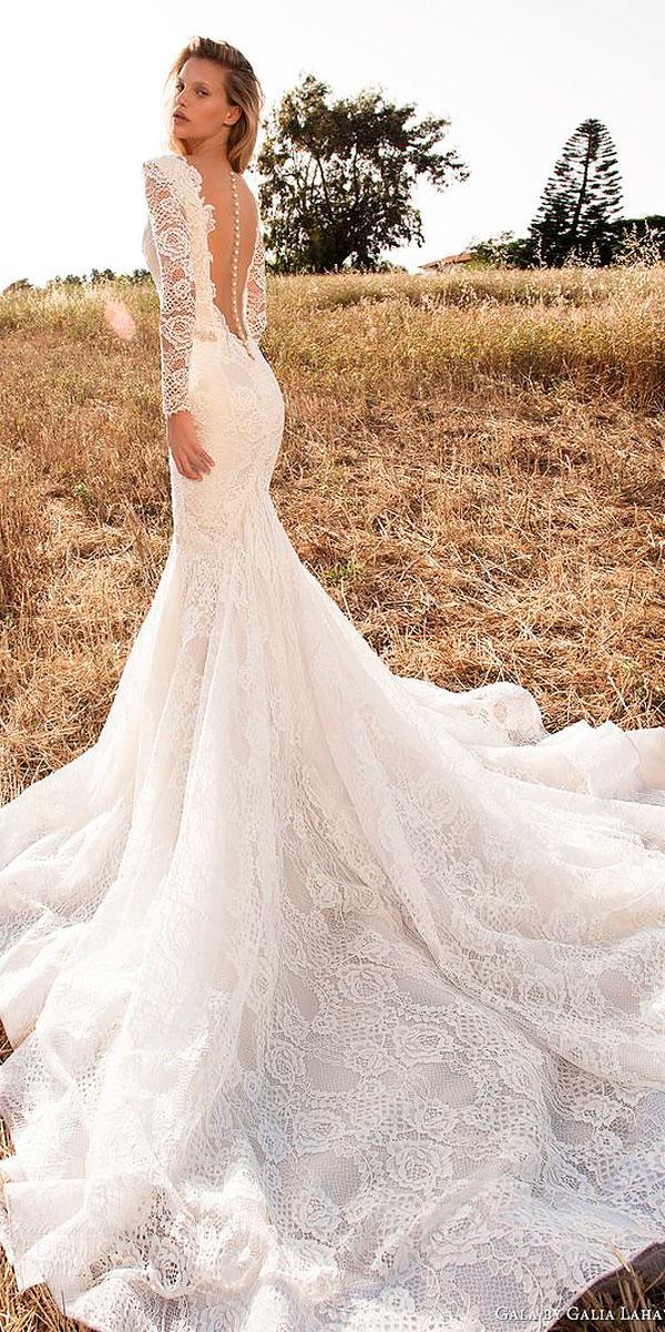 mermaid low open back wedding dresses with lace sleeves galia lahav