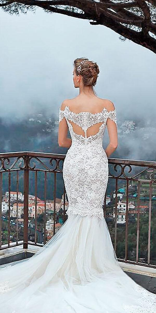 mermaid off the shoulder open back wedding dresses with lace sleeves michal medina